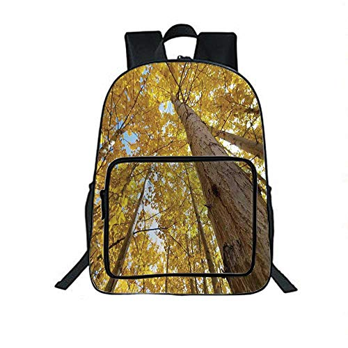 Forest Home Decor Individual School Backpack,Up View of Fall Aspen Tree Leaves in Fade Tone Autumn Season Photo Image for School Tourism,One_Size