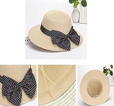 Cebilevin Damen Bogen Strandhut Sonnenh/üte Faltbarer Strohhut mit Sonnenschutz Breite Krempe Atmungsaktiv