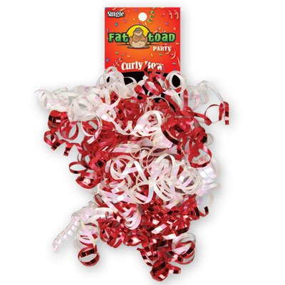 CURLED RIBBON BOW RED / WHITE #34066, CASE OF 192 by DollarItemDirect