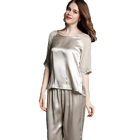 HAOLIEQUAN Conjunto De Pijamas De Mujer 3 Piezas De Encaje Sleep Lounge Pijamas De Sat/én De Oto/ño Pijamas De Mujer Elegante Mujer De Seda