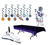TwiceBooked Space Party Table Decoration Bundle - Stars Table Cover, Solar System Hanging Whirls, Inflatable Astronaut Inflatable Space Shuttle