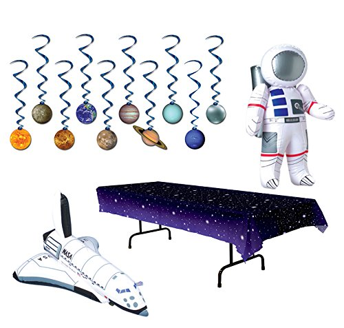 TwiceBooked Space Party Table Decoration Bundle - Stars Table Cover, Solar System Hanging Whirls, Inflatable Astronaut Inflatable Space Shuttle by Unknown