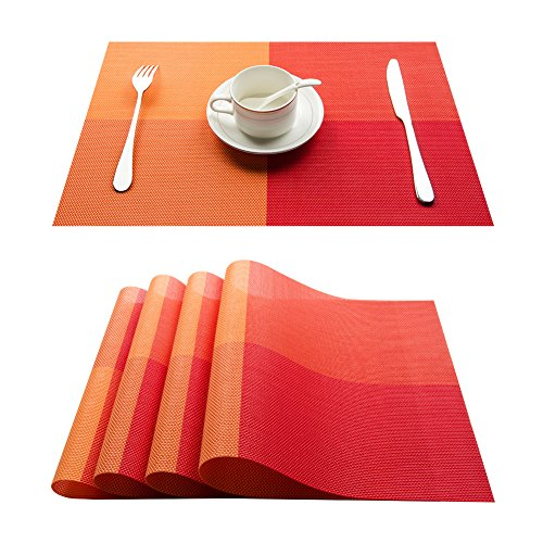 Top Finel Eco-friendly Colorful Plaid Placemats Table Mats Washable Heat-resistant for Dining Table 12″ By 18″ (Set of 4, Orange)