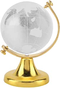Fdit Mini Round Earth Crystal Glass Ball Exquisite Decor Crafts Gift for Office (Golden)