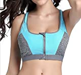 Women's Sports Bras Gym Yoga Top Zipper Front Breathable Bras Double Wear BrasM, blue)