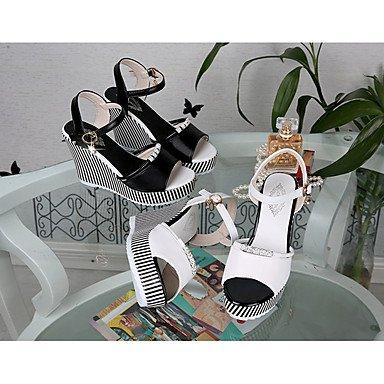 LvYuan Mujer Sandalias PU Primavera Verano Hebilla Tacón Cuña Blanco Negro 10 - 12 cms White