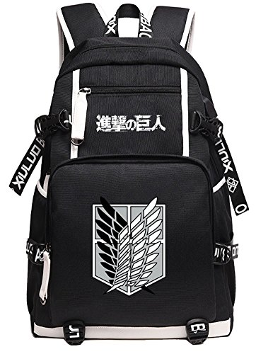 Gumstyle Attack on Titan Book Bag with USB Charging Port Laptop Backpack Casual School Bag Black - Titan Mens Oxford