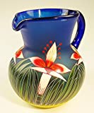 Mexican Glass Bola Pitcher, Hand Painted with Orchid Design 128 Ounces