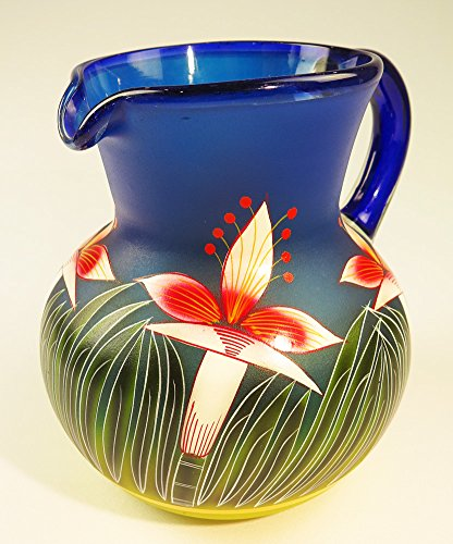 Mexican Glass Bola Pitcher, Hand Painted with Orchid Design 128 Ounces - Hand Painted Glass Pitcher