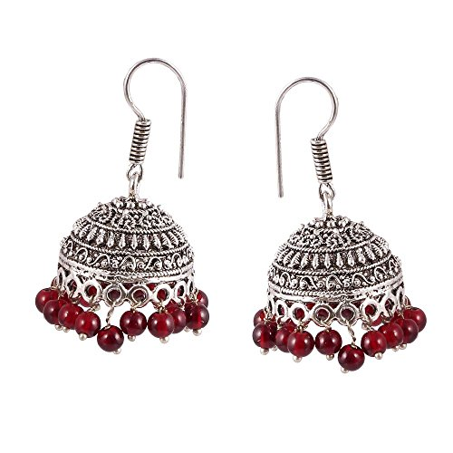 Silver Overlay Vintage (Vintage Style Silver Overlay Indian Bollywood Gypsy Traditional Oxidized Jhumka Jhumki Earring)