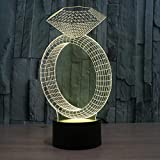 ZY&ZQ Night Light/ 3D Illusion lamp Diamond Ring 7 Color Change Touch Gradient