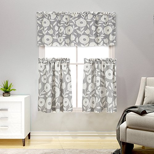 3 Pieces Tier Curtains and Valances Set Floral Printed Kitchen Curtains with Valance Linen Textured Rustic Printed Cafe Curtains(24 Inches Long, Grey and White) (3 Tier 15 Light)