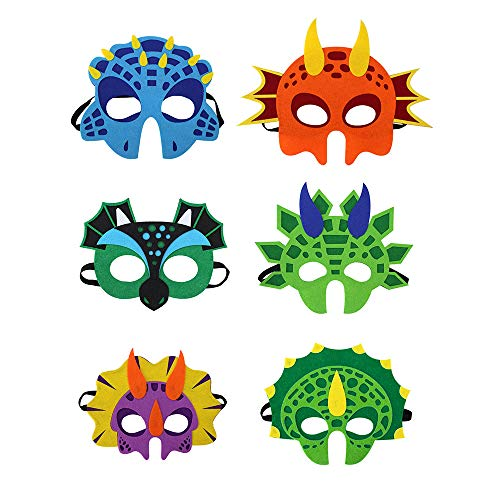 6 Pcs Dinosaur Felt Masks, Masquerade and Halloween