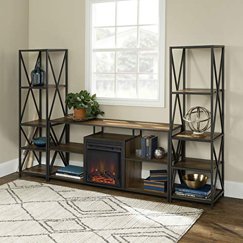 Cheap Office Accents 3 Piece Fireplace TV Stand Set - Rustic Oak Black Friday & Cyber Monday 2019