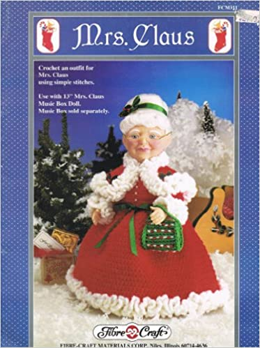 Fibre Craft Crochet Pattern Fcm 311 Mrs Claus Outfit To Fit A 13