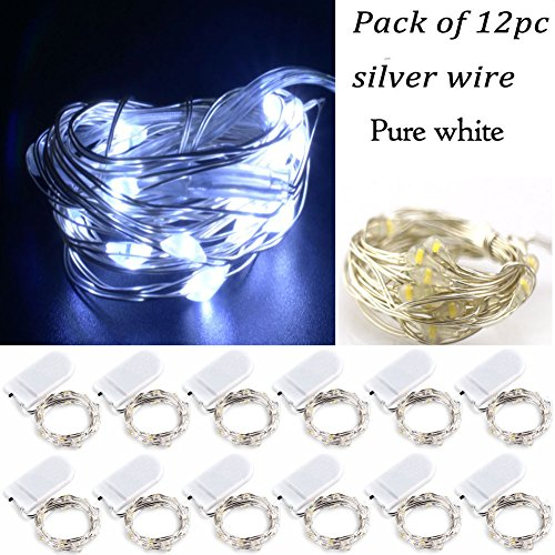 LRCXL Pack of 12 LED Battery Operated Lights 20 Micro Starry LEDs on Silver Wire,2 x CR2032 Batteries Included,6.5 Ft (2m) for DIY Wedding Centerpiece or Table Decorations (Pure White)