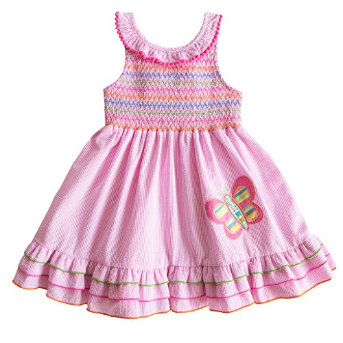 Seersucker Sundress (Good Lad 2/6X Girls Pink Seersucker Sundress with Smocked Yoke and Butterfly Applique (3T))