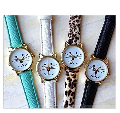 Vavna 4pcs Fashion Women Geneva Cat with Ears Dress Party Wrist Watches