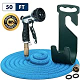 Water Hose - Small Expandable Garden Hose - Hose Holder and High Pressure Washer Hose Spray Nozzle With 7 Settings - Solid Brass Fittings - Heavy Duty Outdoor Kink Free Retractable Flex Hose [50 Ft]