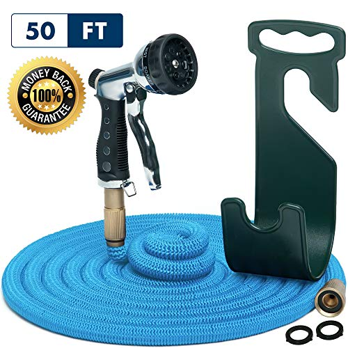 Water Hose – Small Expandable Garden Hose – Hose Holder and High Pressure Washer Hose Spray Nozzle With 7 Settings – Solid Brass Fittings – Heavy Duty Outdoor Kink Free Retractable Flex Hose [50 Ft]