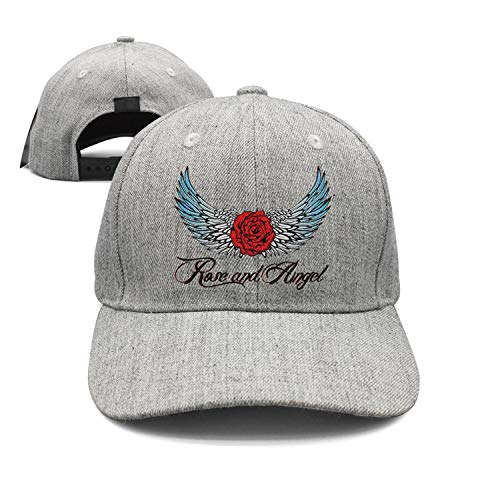 (Unisex Rose and Angel Wings Logo Caps Designer Flat Brim Sun Hats)