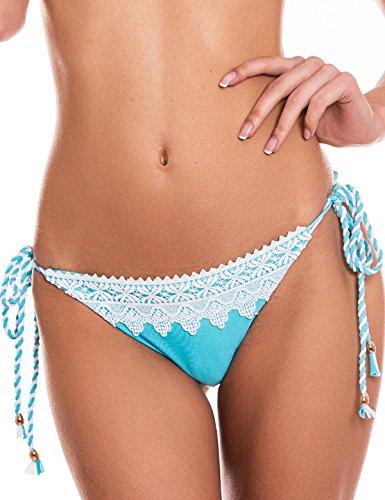 donna bottom in pizzo slip Blu Chiaro laccetti swimwear con RELLECIGA da7qd