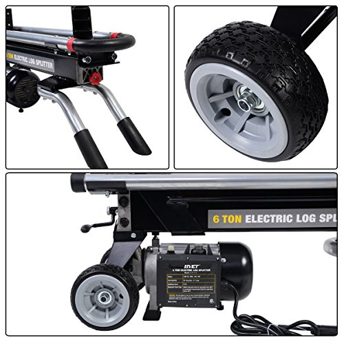 93413105a286 Goplus 6 Ton Hydraulic Electric Log Splitter Powerful Portable Wood Cutter  with Mobile Wheels, 1500W 2HP