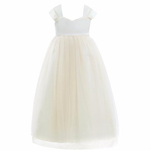 cd76ca6052de FEESHOW Tulle Flower Girl Dress Empire Waist Princess Wedding Bridesmaid  Party Dance Gown Cream 2