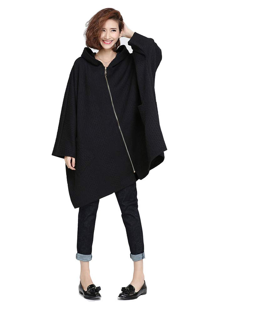 Ninmon Shares Women's Coat for Autumn Winter Bat Sleeve Jacket Pullover with Pocket Plus Size (Black, One Size)