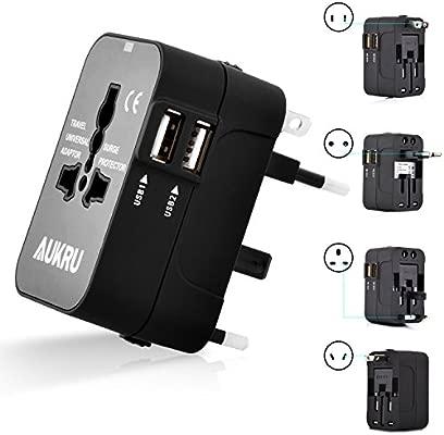 Aukru Cargador Universal de Viaje con 2 Puertos USB adaptador Internacional para USA / EU / UK / AUS Aprox 180 Países – Negro