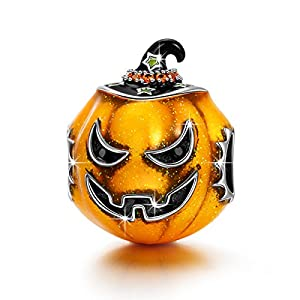 NINAQUEEN The Light of Halloween 925 Sterling Silver Halloween Pumpkin Charms, Best Halloween Jewelry Gifts for Women