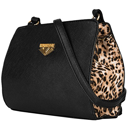 Vangoddy Arina Nero Leopard Crossover Bag, Borsa a tracolla donna