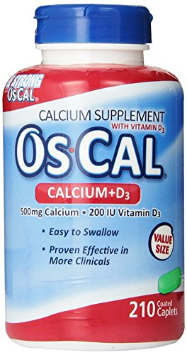 OsCal 500 mg Calcium + 200 IU Vitamin D3 Caplets Calcium Supplement, 210 count (Best Rated Vitamin D Supplement)