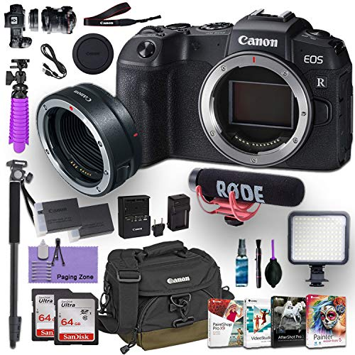 CanonEOS RP Mirrorless Digital Camera (Body Only) and CanonMount Adapter EF-EOS R kit Bundled w/Deluxe Accessories Like Rode Microphone, High Speed Flash, 4-Pack Photo Editing Software and More