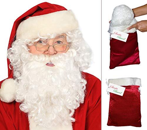 Deluxe Santa Beard and Wig Set Santa Wig and Beard Set Santa Claus Beard and Wig -