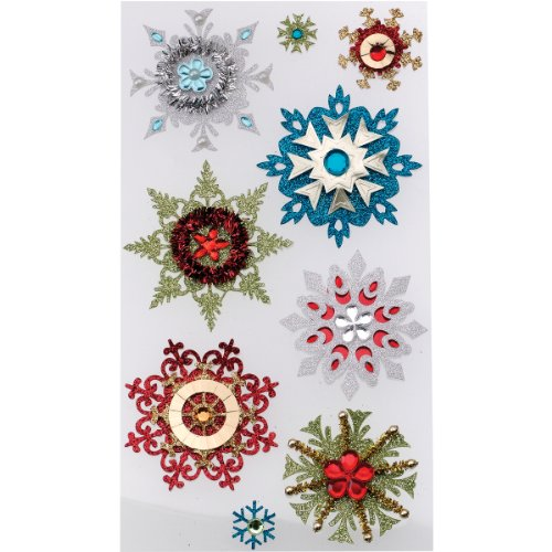 Jolee's Boutique Dimensional Stickers, Embellished Snowflakes -