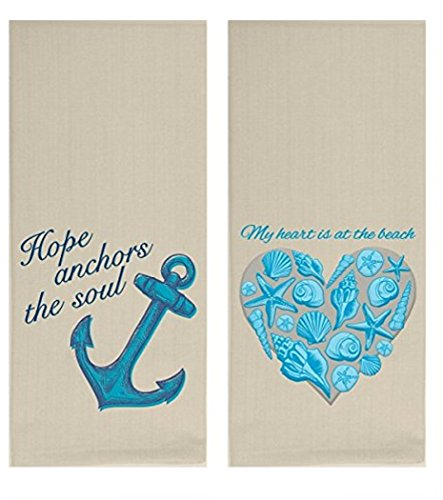 Wellspring 2 Embroidered Kitchen Dishtowels My Heart is at The Beach and Hope Anchors The Soul, Bundle 2 -