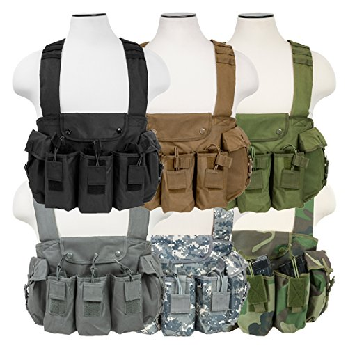 Tactical AK Chest Rig Magazine Pouches Vest Utility Pouches Adjustable MOLLE (Green)