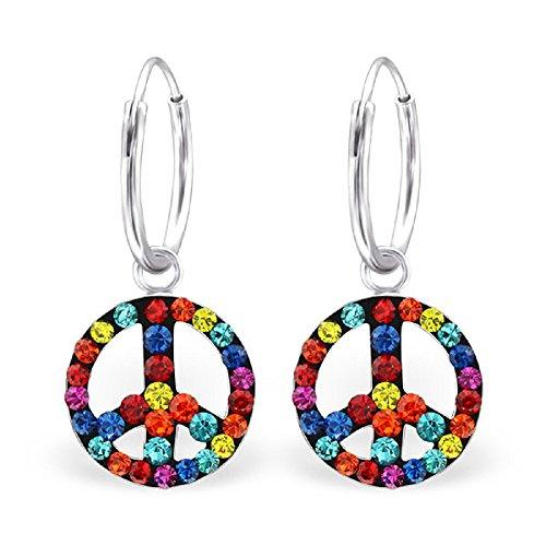 (ICYROSE 925 Sterling Silver Multicolored Crystal Peace Sign Dangling Hoop Earrings 24524)
