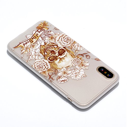 Coque iPhone X Crâne d'or Premium Gel TPU Souple Lumineux Transparent Silicone Clair Bumper Protection Housse Arrière Étui Pour Apple iPhone X / iPhone 10 (2017) 5.8 Pouce + Deux cadeau