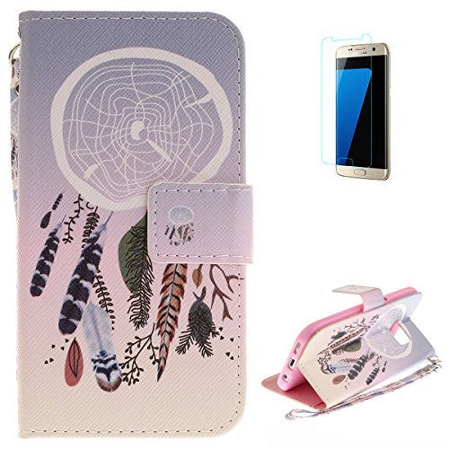 Samsung Galaxy S7 Flip Magnetic Leather Case [Free Screen Protector] KaseHom Elegant Dreamcatcher Painted Design Folio Wallet Case with [Card Slot] [Hand Strap] Slim Protective Cover Holster