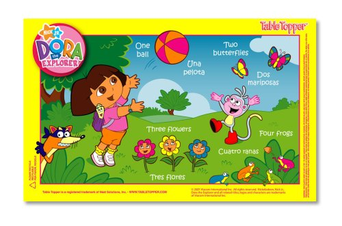Neat Solutions 50-Ct Dora The Explorer Table Topper Disposable Stick-On Placemats With Reusable Pop-Up Travel Case by Neat Solutions (Image #1)