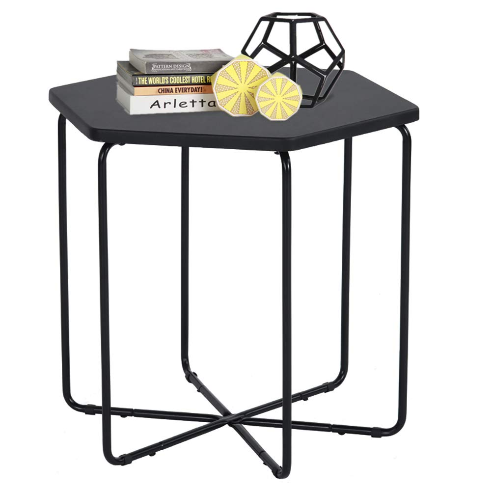 ASUUNY Side End Coffee Table regular octagon MDF cover with Black PVC Metal Leg in Black Painting ALSC