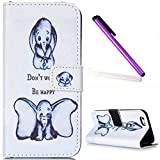 iPhone 5C Case, iPhone 5C Wallet Case,EMAXELER iPhone 5C Flip Folio Case,Beautiful illustration PU Leather Flip Protective Case Cover with Stand Wallet for Apple iPhone 5C-Childhood Elephant