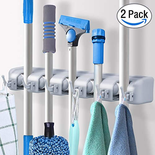 Pack of 2 Mop Broom Holder Wall Mount Storage with 6 Foldable Hooks, Heavy Duty Garage & Garden Tools Hanger Rack, Commercial Kitchen Closet Wall Organizer by DealBang (18 Months Warranty)