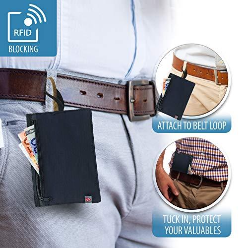 (Lewis N. Clark RFID Blocking Money Belt Travel Pouch + Credit Card, ID, Passport Holder for Women & Men, Black)