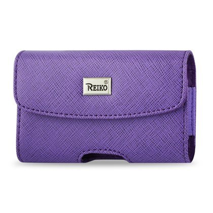 Reiko Horizontal Criss Cross Design Pouch for Blackberry 8330 - Retail Packaging - Purple