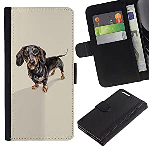 Graphic Case / Wallet Funda Cuero - Dachshund Badger Dog Black Brown - Apple iPhone 6 PLUS 5.5