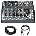 """Behringer (1202FX) Xenyx Premium 12-Input 2-Bus Mixer w/ Xenyx Mic Preamps + Pro Audio Bundle Includes, Premier Series XLR 10' Male to XLR Female Cable & 3ft. 1/8"""" TRS Male to Two 1/4"""" TS Male Cable by Behringer"""