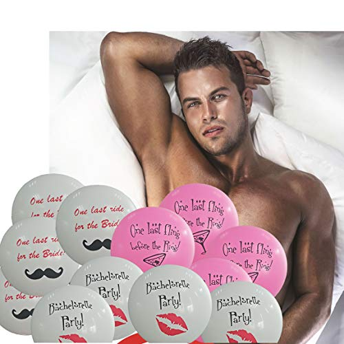 Bachelorette Party Games & Bachelorette Party Decorations | Pin the Love Muscle on Romeo Game | 12 Bachelorette Party Balloons | Girls Night Out - Bridal Showers - Drinking Party - Truth or Dare by Romance Chef